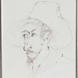 Leonardo Nierman, Self-Portrait 2, Ink Drawing - Artist:  Leonardo Nierman, Mexican (1932 - )