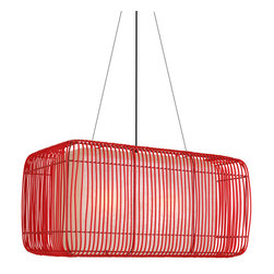 Hive - Hive Geisha Pillow Outdoor Hanging Lamp - Rectangularsuspension lamp, suitable for outdoor use, with shade constructed of polyethelyne wicker woven over a fiberglass diffuser. Medium lamp requirestwo E26/E27 60W incandescent bulbs. Large lamp requires three E26/E27 60W incandescent bulbs. UL Listed. Manufactured by Hive. Price includes shipping to the USA.