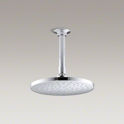 "KOHLER - KOHLER Contemporary Round 8"" rainhead with Katalyst(R) spray technology, 2.0 gpm - Enjoy a shower that simulates the soaking deluge of a warm summer downpour. This contemporary-style showerhead features innovative Katalyst(R) air-induction technology, which efficiently mixes air and water to produce large water droplets and deliver a po"