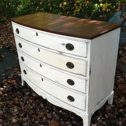 Custom Painted Dressers Antique White Dark Walnut Stained Top - Sold. Similar available in our current inventory of antique furniture. Email us at kingstonkrafts@gmail.com to receive photos of similar antique inventory. Or call 401-516-7711 to schedule a visit in our Providence, RI studio.