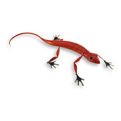 Large Red and Orange Metal Lizard Statue Decoration - No special equipment is required to own this fabulous large lounging lizard!! It will never run away, and no need for crickets since it is crafted of metal! It is hand painted in a rich red grading into a lovely light orange on its belly. Its eyes and feet are black with shiny gold toes. It measures 23 inches long, 9 inches wide and 2.5 inches high. He would make a wonderful addition in your lizard lounge, and just as commanding alone on a shelf! He would make a great gift for any lizard lover!