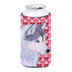 Caroline's Treasures - Siberian Husky Hearts Love Valentine's Day Tall Boy Koozie Hugger - Siberian Husky Hearts Love Valentine's Day Tall Boy Koozie Hugger Fits 22 oz. to 24 oz. cans or pint bottles. Great collapsible koozie for Energy Drinks or large Iced Tea beverages. Great to keep track of your beverage and add a bit of flair to a gathering. Match with one of the insulated coolers or coasters for a nice gift pack. Wash the hugger in your dishwasher or clothes washer. Design will not come off.
