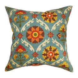 The Pillow Collection - Kachine Orange 18 x 18 Floral Throw Pillow - - Pillows have hidden zippers for easy removal and cleaning  - Reversible pillow with same fabric on both sides  - Comes standard with a 5/95 feather blend pillow insert  - All four sides have a clean knife-edge finish  - Pillow insert is 19 x 19 to ensure a tight and generous fit  - Cover and insert made in the USA  - Spot clean and Dry cleaning recommended  - Fill Material: 5/95 down feather blend The Pillow Collection - P18-D-42254-AUTUMN-C100