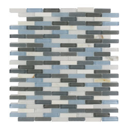 """GlassTileStore - Nexus Balinese Breeze Mini Brick - Nexus Balinese Breeze Mini Brick Glass + Stone Tile          The glass and stone combination creates a beautifully multidimensional effect. It is great to install in kitchen back splashes, and any decorated spot in your home. The mesh backing not only simplifies installation, it also allows the tiles to be separated which adds to their design flexibility.          Chip Size: 3/8"""" x 1 5/8""""   Color: Super White, Sky Blue, Graphite, Cerulean Blue, White and Gray   Material: Glass, White Thassos and White Carrera   Finish: Polished and Frosted   Sold by the Sheet - each sheet measures 10""""x11 1/2""""(0.8 sq. ft.)   Thickness: 8mm            - Glass Tile -"""