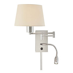 "Frontgate - Georgia Swing Arm Wall Lamp - Includes gooseneck 3-watt LED light bulb. Requires 100-watt medium base bulb (equivalent 13-watt CFL bulb included). Plug-in style with 96"" cord; can be converted to a ""pin-up"" light (mounted to an electrical wall box). Matching 18"" cord cover included. 120V. Our Georgia Swing Arm Wall Lamp features full adjustability in a contemporary, two-light wall sconce. Ideal as a reading lamp, the swing-arm design allows up to a 21"" extension of the main lamp, while an adjustable gooseneck LED light makes it easy to focus light in a particular direction. Polished chrome finish and white fabric shade make for a clean, elegant presentation to blend with any decor.  .  . Plug-in style with 96"" cord; can be converted to a ""pin-up' light (mounted to an electrical wall box) .  .  . UL listed . One year limited manufacturer's warranty . Some assembly required . Imported."