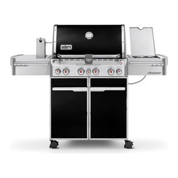 Weber - Weber Summit E-470 Gas Grill - Propane - 7171001 - Shop for Grills from Hayneedle.com! The Weber Summit E-470 Gas Grill offers beauty elegance and the capacity to grill for the entire block. Besides the four burners and large cooking surface this grill features a dedicated smoker burner with smoker box and a rotisserie with spit-fork attachment. With thoughtful touches like polished trim smooth lines an enclosed tank storage area and a push-button LED tank scale this Weber Summit gas grill will fuel some friendly competition among neighbors. Features: 4 stainless steel burners 48 800 BTU-per-hour input 12 000 BTU-per-hour input side burner 8 000-BTU smoker burner with stainless steel smoker box 10 600-BTU infrared rear-mounted rotisserie burner Spit-fork rotisserie attachment with heavy-duty motor Snap-Jet individual burner ignite system 9.5mm-diameter stainless steel cooking grates Stainless steel Flavorizer bars Black porcelain-enamel shroud with polished handle and trim Center-mounted thermometer Accent-colored cast aluminum end caps Primary cooking area: 438 square inches Warming rack area: 112 square inches Total cooking area: 580 square inches Enclosed cart with black-painted steel doors stainless steel handles and accent-colored side and rear panels Accent-colored painted steel frame 1 Grill Out handle light for after-dark grilling 6 tool hooks Enclosed tank storage and precision fuel gauge 2 heavy-duty locking casters; 2 heavy-duty swivel casters Includes Weber cookbook Weber model number LP 7171001 Dimensions with the lid open: 66W x 30D x 57H inches About Weber GrillsWeber-Stephen Products Co. headquartered in Palatine Ill. is the premier manufacturer of charcoal and gas grills grilling accessories and other outdoor room products. A family-owned business for more than 50 years Weber has grown to be a leading seller of outdoor grills worldwide.
