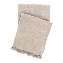 "Pine Cone Hill - PCH Linen Chenille Natural Throw - This soft PCH throw captivates with a versatile linen chenille design. Plush and decadent, the cozy blanket's sand brown hue and frayed edges lend luxurious sophistication. 100% cotton chenille; Machine washable; 50""W x 70""H"