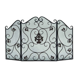 Benzara - Fireplace Screen Made Scroll Detail Protective Safety Mesh Home Decor - Beautiful fireplace screen made from wrought iron with scroll detail and protective safety mesh material home decor