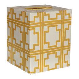 Worlds Away Kleenex Box Cream with Yellow Squares - Worlds Away Kleenex Box Cream with Yellow Squares