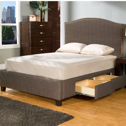 """Casual Elegance - Newport Storage Platform Bed - The Newport Storage bed, constructed and designed by furniture makers, is a premium platform bed with upholstered headboard. The Newport provides four over sized full-extension drawers that may be used to accommodate items such as memorabilia, keepsakes, photo albums, linens, clothes, shoes, and other valuables. We all need more storage. Features: -Premium drawer construction. -4 Drawers. -Anti jam drawer shield. -Touch latch drawer openers. -Full extension ball bearing drawer glides. Dimensions: -Queen: 58.5"""" H x 74.5"""" W x 94"""" D, 264 lbs. -King: 58.5"""" H x 62.5"""" W x 90"""" D, 281 lbs. -California King: 58.5"""" H x 80.5"""" W x 90"""" D, 274 lbs."""