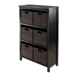"""Winsome Trading, INC. - Winsome Terrace 7-Piece Storage Shelf/Bookcase - Terrace Storage Shelf/Bookcase Collection is perfect to use alone or pair with baskets and create a place for your goodies. This 4-Tier Shelf has overall size of 26""""W x 11.8""""W x 43""""H. Top is 26""""W x 11.81""""D. Top shelf is 23.54""""W x 10.63""""D x 12.80""""H and the other shelves are 12.32""""H. This set comes with six foldable small baskets 11.02""""W x 10.24""""D x 9.06"""" made from corn husk in chocolate finish. Shelf/Bookcase constructed from combination of solid and composite wood in Dark Espresso finish. Assembly Required."""