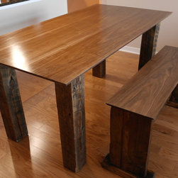 Dining Room Tables - Rustic dining room table made of black walnut with bench seating