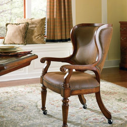 Hooker Furniture - Hooker Furniture Waverly Place Tall Back Castered Game Chair 366-75-500 - The Waverly Place Collection is crafted from hardwood solids, cherry veneers with natural imperfections.