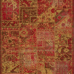 "Momeni - Momeni Vintage VIN-3 (Sunset) 9'10"" x 12'6"" Rug - Meant to emulate the over-dyed and patchwork handknotted rugs that are so popular today, Vintage interprets this look in a power-loomed quality with hand-sheared finishing that gives each design the look of a distressed, antiqued piece. Made of 100% NZ Wool. Due to the hand sheering of this product and in order to enhance the beauty of this collection each piece may vary slightly."