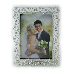 Lawrence Frames - 8x10 Silver Plated Metal Picture Frame - Crystals and Ivory Enamel - Fabulous silver plated metal picture frame with open heart design. Exquisite hearts are adorned with crystals.  Inner panel is finished with ivory swirled enamel.  Heavy weight high quality photo frame makes an impressive gift.  High quality black velvet backing with easel for vertical or horizontal table top display.  Individually boxed.