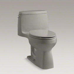 KOHLER - KOHLER Santa Rosa(TM) Comfort Height(R) one-piece compact elongated 1.28 gpf toi - This Santa Rosa toilet's one-piece design adds a contemporary look to your bathroom environment while conserving space with a compact elongated bowl. Its 1.28-gallon high-efficiency flush provides significant water savings of up to 16,500 gallons per year