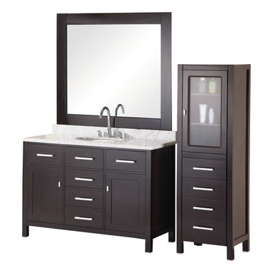 """Design Element Co. - 48 Inch Modern Single Sink Bathroom Vanity - This 48 inch modern single sink vanity offers clean lines and plenty of storage.  Solid wood cabinet, Carrera White marble countertop, White ceramic sink, 8 inch Spread Polished chrome faucet, Matching pop up drain, Five functional pull-out drawers with two single-door cabinets, Matching framed mirror, Soft closing cabinet door ensures you never hear door slam again.  Dimensions: 48""""W x 22""""D x 34""""H (Tolerance: +/- 1/4""""); Counter Top: Carrera White Marble; Finish: Espresso (Dark Brown, Can Appear Black in Certain Lighting); Features: 2 Doors, 4 Drawers; Hardware: Satin Nickel; Sink(s): 18"""" White Ceramic Under Mount; Faucet: Pre-Drilled for Standard Three Hole 8"""" Center (Included); Assembly: Fully Assembled; Large cut out in back for plumbing; Included: Cabinet, Sink, Mirror, Faucet; Not Included: Backsplash, Linen Cabinet."""