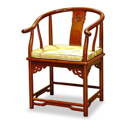 "China Furniture and Arts - Rosewood Ming Style Chair - A style developed in the Ming Dynasty (1368-1644) originally for the comfort of court aristocrats. Its elegant clean shape fits any environment, from contemporary to traditional. The chair is constructed with joinery technique and with the longevity symbol hand carved on the slightly curved back. All made of beautiful solid rosewood with hand applied natural finish. Chair seat is 19""H off the floor."
