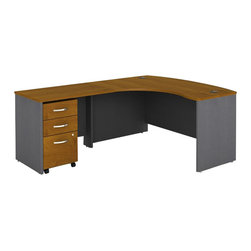 Bush - Bush Series C 3-Piece Left-Hand Computer Bow Desk in Natural Cherry - Bush - Office Sets - WC72433PKG1 - Bush Series C 3 Drawer Vertical Mobile Wood File Cabinet in Natural Cherry (included quantity: 1) File this one under 'quality'. The Bush Series C Vertical File Cabinet is a grand addition to any office environment, either standing on its own, or blending beautifully with any Series C Collection piece. This powerful pedestal filing cabinet holds letter, legal or A4-sized files.  Features: