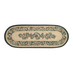 Earth Rugs - 025A Pinecone Oval Table Runner 13in.x36in. - Pinecone Oval Table Runner 13 in. x36 in.