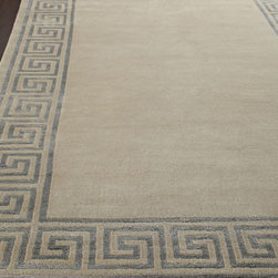 "Horchow - Greek-Key Border Rug, 8'6"" x 11'6"" - A classic border design and soothing neutral color make this rug an ideal addition to any room. Semi-worsted New Zealand wool and viscose pile. Hand knotted in a Tibetan weave. Sizes are approximate. Imported. See our Rug Guide for tips on how...."