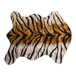Hollywood Love Rugs - Faux Bengal Tiger Skin Rug 4' 10 x 6' 8 Large - Short Pile Faux Fur Bengal Tiger Hide Rug. Truly exotic with with authentic exotic animal skin rug appearance.  These beautiful and affordable fake animal hide rugs are made with a rubberized non-skid backing. Washable, hypoallergenic, stain and soil resistant and naturally fire retardant without the use of chemical treatments. It's non-skid backing makes these rugs appropriate for every room in the home, including the bath or adventurous child's room. Vacuum only with hand held non-agitator vacuum. Wash with cold water and Woolite on gentle cycle and air dry.