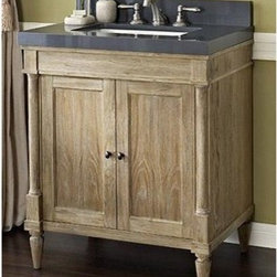 "Fairmont Designs - Fairmont Designs Rustic Chic 30"" Vanity - Weathered Oak - Designed to flaunt the beauty of its wood, Rustic Chic invites you to bring a touch of texture to your bath. The earth-bound, organic look derives its appeal from clean lines and tactile Weathered Oak veneers, accented with subtle brass finished knobs. A variety of cabinet sizes and configurations allows you to customize your space...naturally. Fairmont Designs is described in two words; quality and beauty. Express your creativity with Fairmont Designs bathroom vanities and bath furniture ensembles. The distinctive families of bath furniture from Fairmont Designs come in styles for every bath. Artistry and elegance are delivered in carefully constructed products built with sustainable materials and sturdy craftsmanship. From petite corner solutions to traditional sized pieces, Fairmont Designs is your choice for exquisite and timeless beauty.Features: Materials: White Oak Veneers with White Oak Solids Hinges: Fully concealed, soft closing Doors: 2 Hardware: Brass Shelf: 1 (adjustable) Dimension: 30""W x 21-1/2""D x 34-1/2""H (not including counter) How to handle your counter View Spec Sheet"