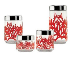Alessi Mediterraneo Container - A fresh coral design makes these glass canisters leave-on-the-counter-worthy. You may opt to use them for cotton balls, cotton swabs or other bathroom necessities as well. Four sizes available.