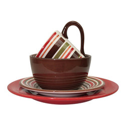 Bambeco 5-Piece Sonoma Holiday Set - Add sophisticated eco style to the dinner table with our delightful Sonoma Dinnerware. The classic design and vibrant striped pattern bring festive elegance to the table, making our Sonoma Collection perfect for everyday use or special occasions. Made with natural clay and hand-painted with food safe, lead free colors. Dimensions: Dinner Plate- 11 dia., Salad/Dessert Plate- 8.25 dia., Soup/Cereal Bowl- 3.25H x 6dia., Rimmed bowl- 2H x 10dia., Mug- 4.25H x 4 dia. Care: Dishwasher and microwave safe.
