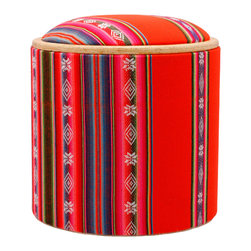 Pomada - Aguayo-0range Box Ottoman - Ready for the fiesta? This little piece does quadruple duty as a footstool, seat, table and storage box — perfect for your next gathering. And the fabric, reminiscent of Andean design, is like a party of its own. The base is made from ecofriendly OSB that's padded on one side.