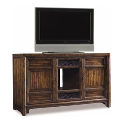 Hooker Furniture - Legends Entertainment Console - Two wood doors with one adjustable shelf behind. One glass door with two adjustable shelves behind door. Glass door has seeded glass in top and bottom sections has clear glass in center. Hammered look hardware. Ventilation. Three electrical outlets. Adjustable levelers. Made from hardwood solids, primavera, cherry, pine and red birch veneers. Adjustable side shelves: 19 in. L x 19.25 in. W. Thickness: 0.75 in.. Three setting adjust by 2 in.. Center door: 17 in. W x 27.38 in. H. Thickness: 1 in.. Center door glass: 15.56 in. W x 25.13 in. H. Center opening: 18.13 in. L x 21.13 in. W x 29 in. H. Center shelves: 17.75 in. L x 18.25 in. W. Thickness: 0.75 in.. Seven setting adjust by 2 in.. Side doors: 17.88 in. W x 27.38 in. H. Thickness: 1 in.. Side opening: 18.75 in. W x 21.13 in. D x 29 in. H. Overall: 60 in. W x 23 in. D x 36.25 in. HIt's Asian Antique look makes it a decorators dream.