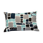 """Area Inc. - Pebbles Aqua X-Small Decorative Pillow 12X18"""" - Area Inc. - Add a fun, bright print to your couch or bed with the 12-by-18 inch Pebbles Aqua Decorative Pillow. This pure linen pillow features softened square shapes in black, gray and turquoise on an off-white background. Includes a feather down insert. Display it against solid colors for a dramatic contrast."""