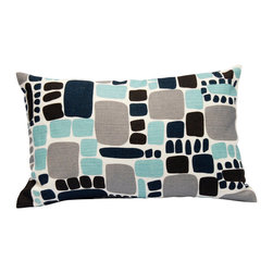 "Area Inc. - Pebbles Aqua X-Small Decorative Pillow 12X18"" - Area Inc. - Add a fun, bright print to your couch or bed with the 12-by-18 inch Pebbles Aqua Decorative Pillow. This pure linen pillow features softened square shapes in black, gray and turquoise on an off-white background. Includes a feather down insert. Display it against solid colors for a dramatic contrast."