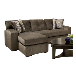 Chelsea Home Furniture - Chelsea Home Rockland Sofa Chaise in Hematite Gray - Zipper Opal Pillows - Rockland Sofa Chaise in Hematite gray - Zipper Opal Pillows belongs to the Chelsea Home Furniture collection .