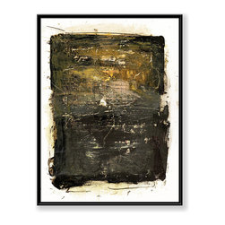 """CHC Art, Inc - Statement in Black, 60""""x48"""", Hand Embellished Giclee - This medium is seemingly rudimentary, with simple scrawls and muddied paint. Although, the artist intent is for the viewer to see is as simple and childish, the composition and use of paint are complex. The medium consists of alternating areas of dark and light paint.- Hand Embellished Giclee.- Black floater frame.- Ready to hang.- Frame adds 1.75"""" to each image dimension.- Made in the USA."""
