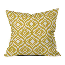 DENY Designs - Heather Dutton Trevino Yellow Throw Pillow - Wanna transform a serious room into a fun, inviting space? Looking to complete a room full of solids with a unique print? Need to add a pop of color to your dull, lackluster space? Accomplish all of the above with one simple, yet powerful home accessory we like to call the DENY throw pillow collection! Custom printed in the USA for every order.