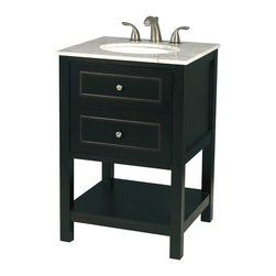 Pegasus - Madison 24 in. Bathroom Vanity in Espresso Fi - Manufacturer SKU: F10AE00211A. Faucet not included. Carrera marble top. White under mount lavatory. Extra deep wood drawer with dovetail joints. Concealed self-closing drawer. Full extension drawer glides. Tilt out top drawer for extra storage. Brushed nickel hardware. Made from solid wood. 24 in. W x 22 in. D x 34 in. H (44 lbs.)