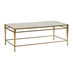 Lexington - Lexington Kensington Place Millington Metal Cocktail Table - Create a stunning contrast with your wood furniture or soft upholstered pieces with this dazzling, brass-finished occasional table. The cocktail table is a touch glam and and touch traditional with its tapered metal legs, brass-finished rails, and bright, antiqued mirror top. Exceptional display for those decorative arrangements.