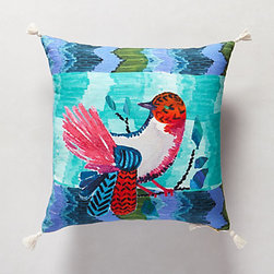 Talavera Pillow, Blue - I love the bright colors in this bird pillow. It would be perfect on a sofa to give your space a fun look for summer.