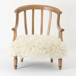 "Anthropologie - Flokati Garvey Chair - Walker finishSpring seat constructionShaggy wool upholsteryMaple wood frame; polyfillProfessionally clean32.5""H, 26.5""W, 27""DSeat: 15""HUSA"