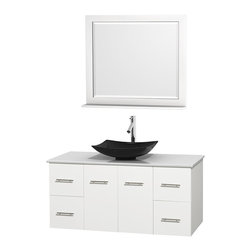 "Wyndham Collection - Centra 48"" White Single Vanity, White Man-Made Stone Top, Black Granite Sink - Simplicity and elegance combine in the perfect lines of the Centra vanity by the Wyndham Collection. If cutting-edge contemporary design is your style then the Centra vanity is for you - modern, chic and built to last a lifetime. Available with green glass, pure white man-made stone, ivory marble or white carrera marble counters, with stunning vessel or undermount sink(s) and matching mirror(s). Featuring soft close door hinges, drawer glides, and meticulously finished with brushed chrome hardware. The attention to detail on this beautiful vanity is second to none."