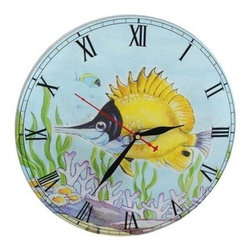 Yellow Longnose Butterfly Tropical Fish Wall Clock - This cute wall clock is a great accent to beach and nautical decor! It shows a Yellow Longnose Butterfly fish swimming around a coral reef and bold Roman numerals to mark the time. The clock is made of wood composite and measures 11 1/2 inches in diameter. It features quartz movement and runs on 1 AA battery (not included). The hour and minute hands are black and the second hand is red, so you can easily read the time from a distance.