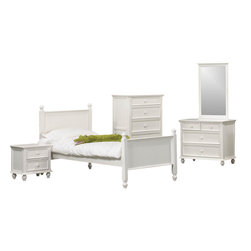 Homelegance - Homelegance Whimsy 5-Piece Kids' Panel Bedroom Set in White - Today your little girl loves purple tomorrow white or maybe green or was it yellow? The Whimsy collection offers her the option to customize her room to reflect those fantastic whims of youth. Each front drawer panels of the case pieces can be flipped to reveal a different color floral motif. The cottage style collection features cases goods that have been scaled to fit into your child s world.