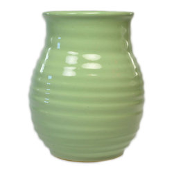 Lavish Shoestring - Consigned Small Green Flower Vase by Denby, Vintage English, circa 1950 - This is a vintage one-of-a-kind item.