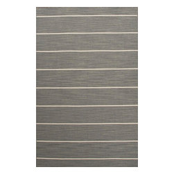 Jaipur Rugs - Flat-Weave Stripe Pattern Wool Gray/Ivory Area Rug (9 x 12) - Fashion-forward color and a soft texture highlight the relaxed sophistication of the Coastal Living Dhurries Collection. Ideal for any casual lifestyle, the boldly striped, flat-woven pieces are easily cleaned - ideal for lounging after a day spent at the beach.