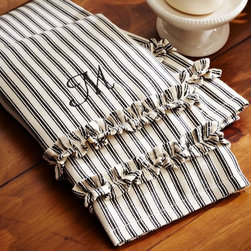 Ticking Stripe Ruffled Guest Towels, Set of 2 - I love this ticking stripe towel with a sweet ruffle.
