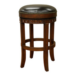 American Heritage - American Heritage Portofino 30 Inch Bar Stool in Dark Wood - The perfect stool to compliment your space. This backless gem has a wide base and ample seating for many hours of conversation. The Merlot colored leather has the durability you are looking for. What's included: Stool (1).