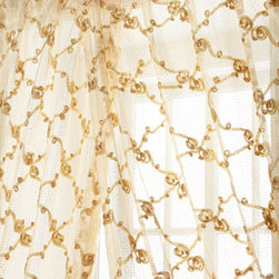 "Isabella Collection by Kathy Fielder - Isabella Collection by Kathy Fielder Each 98""L Rosette Sheer - A lattice of rosette swirls is artfully created with ribbon on sheer curtains with an open weave. Rod pocket style. Made in the USA of imported polyester. Select Ivory or Beige when ordering. Each curtain is approximately 50""W. Dry clean."