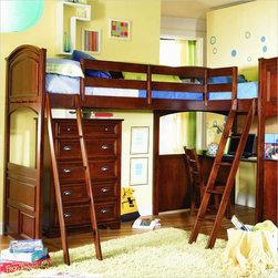 Lea - Lea Deer Run L-Shaped Wood Bi-Loft Bunk Bed Set In Brown Cherry Finish - Lea - Bunk Bed Sets - 625BILPKG