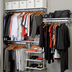 Arrange A Space - Closet System in White Finish (80 in. W x 11. - Choose Size: 80 in. W x 11.75 in. D x 84 in. H (93 lbs.)Includes hardware. Anodized aluminum rail. Rail mounts easily onto the wall. Easy to installs into wood studs. 0.75 in. shelf thickness with industrial grade particle board. Commercial grade steel tubing hang rod in polished chrome. Made from fine wood grain melamine and metal. Height adjusts from 80 in. to 84 in.Arrange a Space's patented closet systems provide you with a unique and innovative solution for all of your space and storage needs. Created as a more flexible and versatile option for closets and storage areas than the common white wire or wood shelf, rod systems of the past.